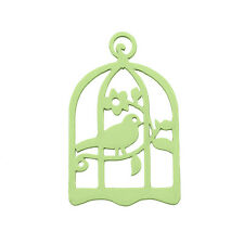 Green Hand Carved Wood Bird in Cage Pendant 32x50mm Pack of 1 (M96)