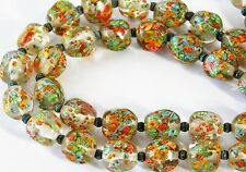 ATQ ART DECO Venetian End of Day Millefiori Glass Bead Necklace