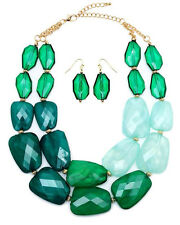 CHUNKY Multi  Acrylic Stone Three Shades Of Green Emerald  Double Necklace Set