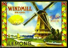Hamilton City Windmill Lemon Citrus Crate Label Print