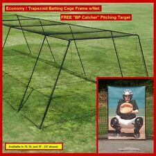 "70' Trapezoid Baseball Batting Cage Frame w/#36 Net, FREE ""BP Catcher"""