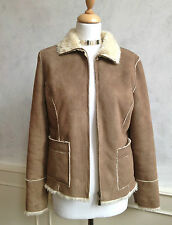NEW- PRINCIPLES Faux Suede Fur Coat Jacket Tan Brown Cream Winter Warm Medium 12