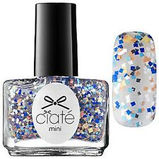 1 New Ciate Mini Nail Polish Mosaic Madness BLUE & SILVER, GOLD GLITTER TOP COAT