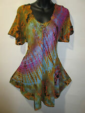 Top Fits XL 1X 2X 3X Plus Tunic Rust Purple Lace Up Lace Sleeve A Shape NWT G787
