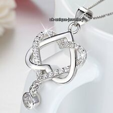 Xmas Gifts For Her - 925 Silver Crystal Hearts Necklace Pendant Girlfriend Women