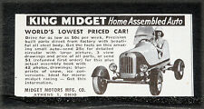 1950 OLD MAGAZINE PRINT AD, KING MIDGET, HOME ASSEMBLED AUTO, LOWEST PRICED CAR!