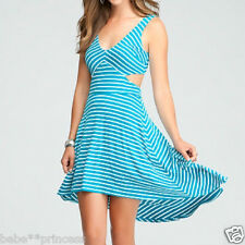 NWT bebe blue white hi low striped cutout back v neck flare top dress M medium