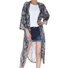 *New* Pretty Ladies Black Chaos Print Long Kimono Size L (14) Beach, Festival