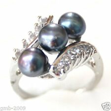 Beautiful Natural Black Freshwater Pearl With Silver Ring Size Random