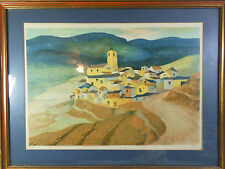 R. Hovet Limited Edition Abstract Print Village on Hill