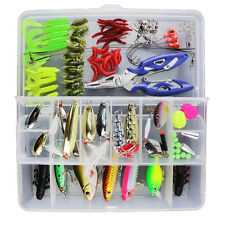101pcs Trout Bass Fishing Lures Crankbaits Set Kit Soft and Hard Lure Hooks