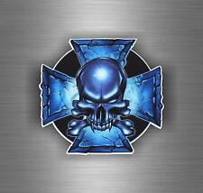 Sticker car motorcycle helmet decal chopper maltese cross skull biker r6