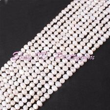 10 Strand Wholesale 5-7mm White Natural Freeform Freshwater Pearl Beads 15""