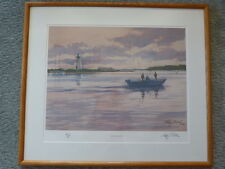 Ray Ellis Double Signed Original Print Fishing Derby OUT AT DAWN Gay Head 1989