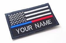 CUSTOM NAME USA FLAG THIN BLUE AND RED LINE MORALE PATCH  9 X 5.5 CM # P155