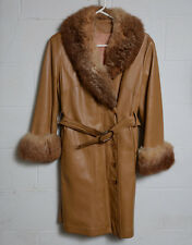Vintage 1970s Womens Leather Coat Fuzzy Lapel