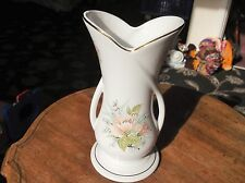"""ELEGANT SHAPELY GILDED FLORAL CHINA VASE MARYLEIGH POTTERY TWIST HANDLES 8.5"""""""