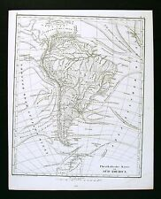 1849 Bilder Atlas Physical Map - South America Ocean Wind Currents Andes Amazon