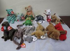 TY Beanie Babies Rare BONES misstaged.Cheeks/nanook/rover/mel/stinger/tiny+more