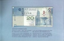 Hong Kong, Commemorative Note for 2008 Olympic $20, 2008, Pick 340, S/N : 410918