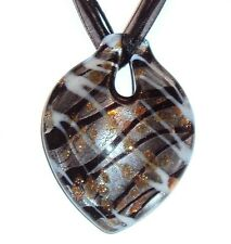 "MN313 Black Silver Foil Bronze Sparkle 47x62 Lampwork Glass Pendant 18"" Necklace"