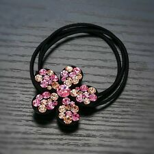 QUALITY Hair Rope Band use Swarovski Crystal Hairpin Ponytail Holder Brown Pink