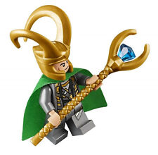 LEGO Marvel Super Heroes LOKI MINIFIGURE AUTHENTIC NEW w/ Staff Scepter 10721