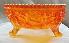 Irridescent Marigold Sawtooth Rim Fenton Open Roses Footed Carnival Glass Bowl''