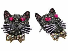 Betsey Johnson Dark Shadows Pave Black Cat Stud Earrings NWT $35