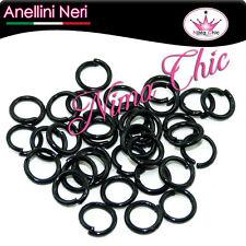 100 ANELLI cerchietti apribili anellini colore NERO 6 mm MINUTERIA BIGIOTTERIA