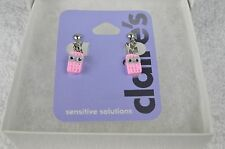 Claire's Pink Waffer/Cookie Earrings Clip-On Earrings w/Google Eyes