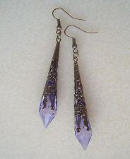 Pretty Translucent Purple Faceted Teardrop Bronze Filigree Dangly Earrings