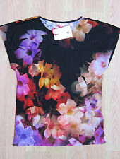 TED BAKER BNWT! *Cascading Floral* Top UK 8 10 1 Party ~ Holiday ~ Cruise BLACK
