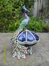 VINTAGE METAL PEACOCK BIRD EASTER FABERGE EGG JEWELLERY JEWELERY TRINKET BOX