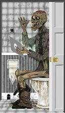 ZOMBIE ON THE TOILET BATHROOM DOOR COVER HALLOWEEN PARTY DECORATION FW9342ZT
