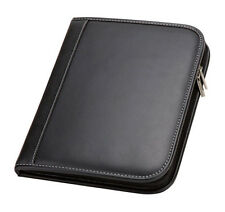 black zip around detachable ipad case cards pen organizer holder padfolio G8605