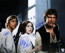 STAR WARS CAST SIGNED AUTOGRAPHED 16X20 PHOTO FORD HAMILL FISHER PSA/DNA AB14327