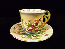 VERY RARE SIGNED OCCUPIED JAPAN SGK CAPODIMONTE STYLE DEMITASSE CUP & SAUCER