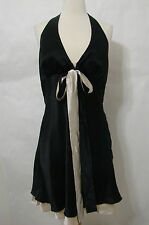WHITE HOUSE BM 100% Silk Black Champagne Adjustable Halter Empire Dress NWT $148