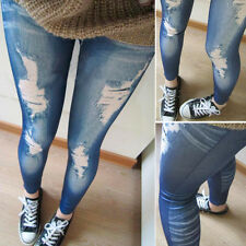 Ladies Denim Look Slim Skinny Jeans Pants Leggings Floral Jeggings Plus Size