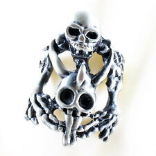 RING ghost SKULL monster pirate silver argent gray solid ONE SIZE LARGE black
