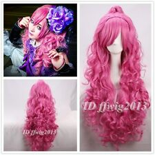 VOCALOID Megurine Luka PINK curly Cosplay wig+1 Clip On Ponytail +a wig cap