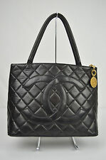 AUTHENTIC CHANEL CC BLACK GOLD LAMBSKIN LEATHER MEDALLION TOTE HANDBAG PURSE