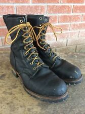 "GEORGIA USA BOOT BLACK LEATHER 8"" STEEL TOE LOGGER LINEMAN BOOTS SIZE 9 W!!!"