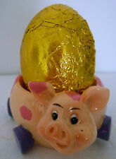 EGG CUP - CUTE PINK SPOTTED PIGGY PLUS FREE CHOCOLATE EASTER EGG! BRAND NEW