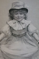 Christmas Art SWEET LITTLE GIRL DANCING or COURTSEY 1889  Antique Print Matted