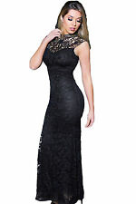 Abito lungo aperto Pizzo Ricamo Cerimonia Party Ballo Mermaid Evening Dress M