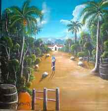 "Haiti Painting, artist Ed Marzouka item#30 size 20""x20"" ship on canvas"