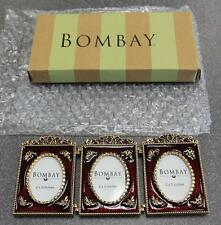 Bombay Company 3 Mini Red/Gold Picture Frames *New*