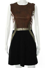 Catherine Deane Brown Black Leather Edelle Dress Size 6 New $990 10241184